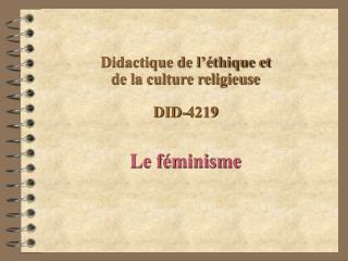 Didactique de l  thique et  de la culture religieuse  DID-4219