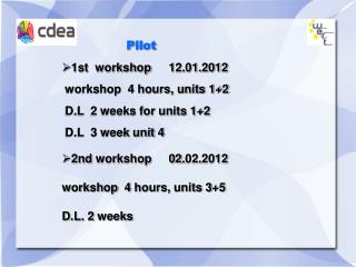 Pilot     1st  workshop  12.01.2012   workshop  4 hours, units 12   D.L  2 weeks for units 12   D.L  3 week unit 4 2nd w