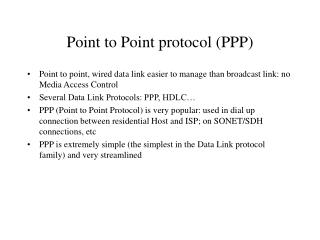 Point to Point protocol PPP
