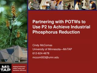 Partnering with POTWs to Use P2 to Achieve Industrial Phosphorus Reduction