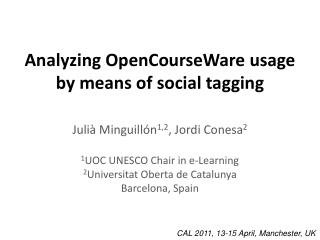 Analyzing OpenCourseWare usage by means of social tagging