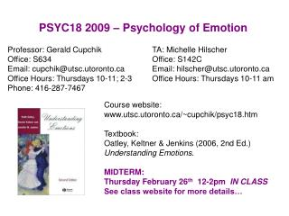 PSYC18 2009   Psychology of Emotion