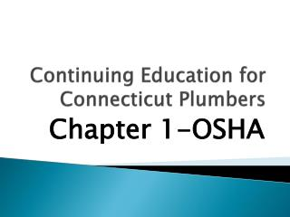 Continuing Education for  Connecticut Plumbers