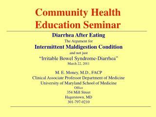 Community Health Education Seminar