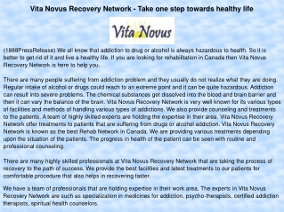 Vita Novus Recovery Network - Take one step towards healthy