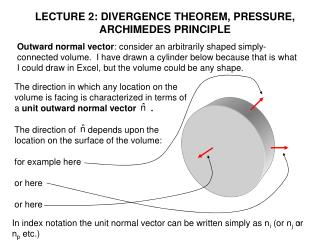 LECTURE 2: DIVERGENCE THEOREM, PRESSURE, ARCHIMEDES PRINCIPLE