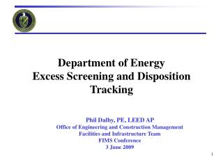 Department of Energy  Excess Screening and Disposition Tracking