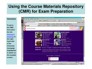 Using the Course Materials Repository CMR for Exam Preparation