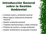 Introducci n General sobre la Gesti n Ambiental