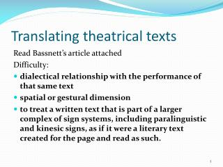 Translating theatrical texts