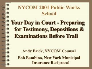 NYCOM 2001 Public Works School
