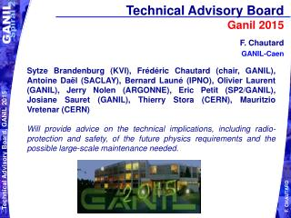 Technical Advisory Board  Ganil 2015
