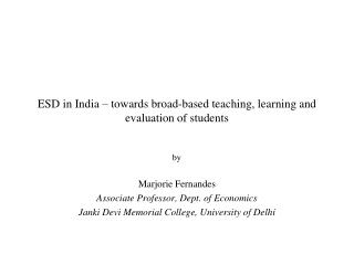 ESD in India   towards broad-based teaching, learning and evaluation of students
