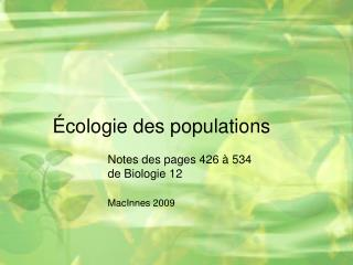 cologie des populations