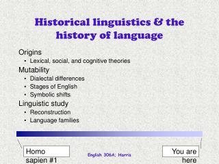 Historical linguistics  the history of language
