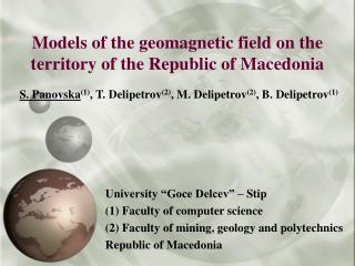 Models of the geomagnetic field on the territory of the Republic of Macedonia