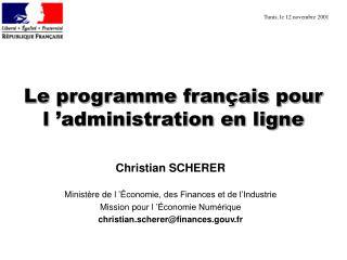 Le programme fran ais pour l  administration en ligne