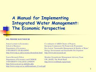 A Manual for Implementing Integrated Water Management: The Economic Perspective