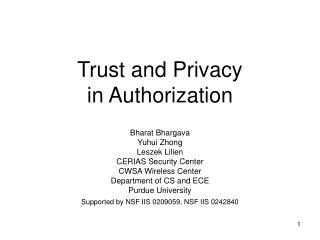 Trust and Privacy in Authorization