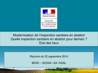 Modernisation de l inspection sanitaire en abattoir Quelle inspection sanitaire en abattoir pour demain  Etat des lieux