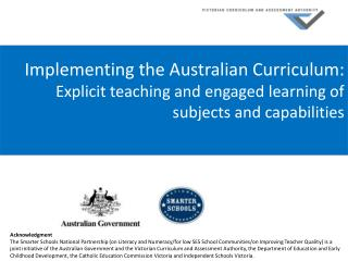 Implementing the Australian Curriculum: Explicit teaching and engaged learning of  subjects and capabilities