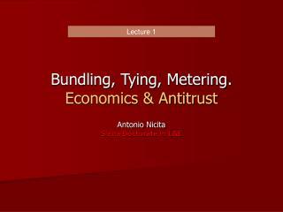 Bundling, Tying, Metering. Economics  Antitrust