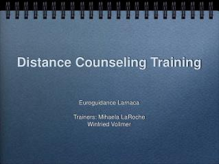 Distance Counseling Training
