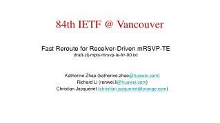 Fast Reroute for Receiver-Driven mRSVP-TE draft-zlj-mpls-mrsvp-te-frr-00.txt