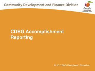 CDBG Accomplishment Reporting