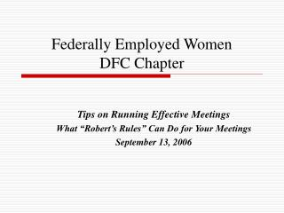 Federally Employed Women DFC Chapter