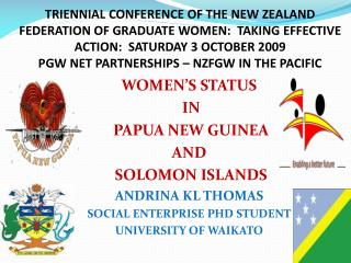 TRIENNIAL CONFERENCE OF THE NEW ZEALAND FEDERATION OF GRADUATE ...