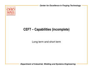 CEFT   Capabilities incomplete