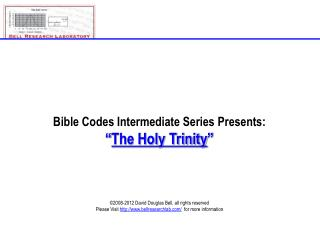 Bible Codes Intermediate Series Presents:  The Holy Trinity