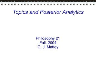 Topics and Posterior Analytics