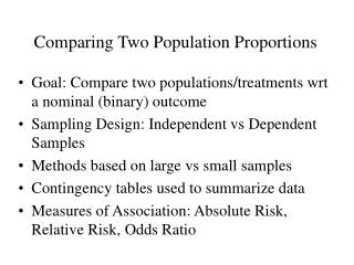 Comparing Two Population Proportions