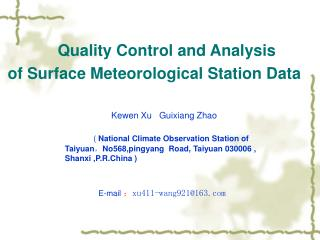 Quality Control and Analysis  of Surface Meteorological Station Data
