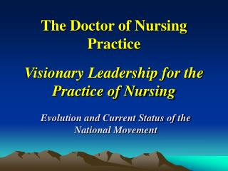 The Doctor of Nursing Practice  Visionary Leadership for the Practice of Nursing