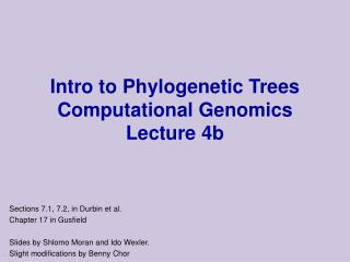 Intro to phylogenetic trees reconstruction.