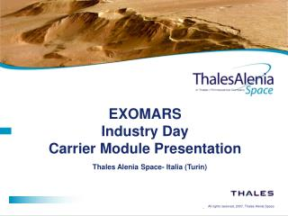 EXOMARS  Industry Day Carrier Module Presentation