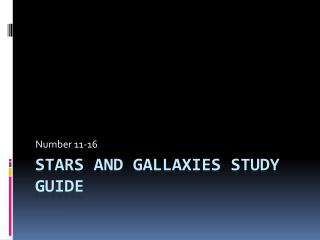 Stars and Gallaxies study guide