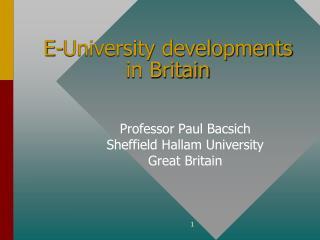 E-University developments in Britain