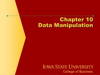 Chapter 10 Data Manipulation