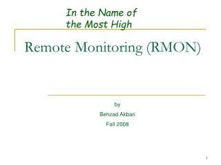 Remote Monitoring RMON