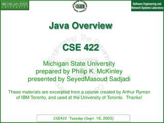 Java Overview  CSE 422