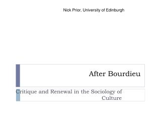 After Bourdieu