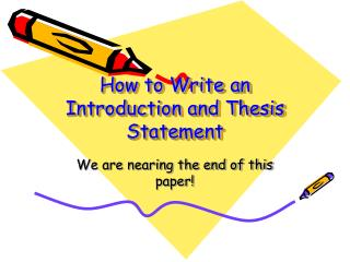 How to Write an Introduction and Thesis Statement