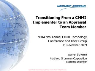 NDIA 9th Annual CMMI Technology Conference and User Group 11 November 2009