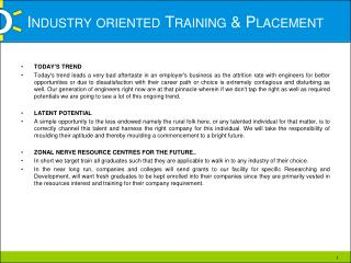 Industry oriented Training  Placement