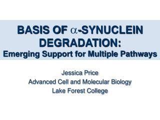 BASIS OF -SYNUCLEIN DEGRADATION: Emerging Support for Multiple Pathways