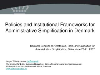 Policies and Institutional Frameworks for Administrative ...